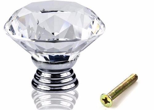 puxador de cristal 40 mm gavetas e móveis com parafuso
