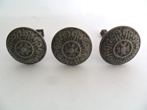 puxador em bronze antigos móveis armários cômodas 3 unidades