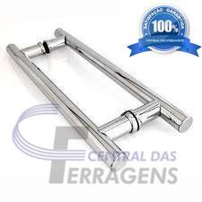 puxador h de aluminio p/ porta de madeira 100cmx80cm tubular
