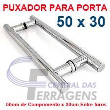 puxador h de aluminio p/ porta de madeira 50cmx30cm tubular