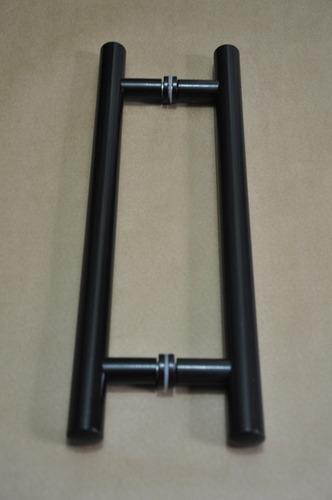 puxador h de aluminio p/ porta de madeira 80cmx60cm tubular