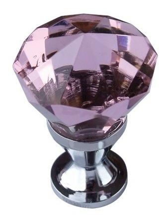 puxador latão vidro rosa 25mm p/ gavetas, móveis m901
