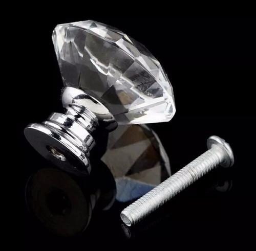 puxador maçaneta cristal armário gavetas móveis 30mm prata