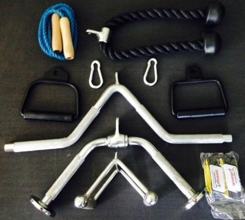 puxador musculação kit completo academia com 10 acessórios