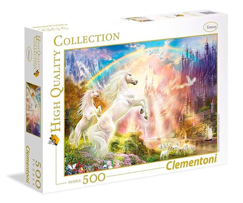puzzle clementoni 500 pzas atardecer y unicornios