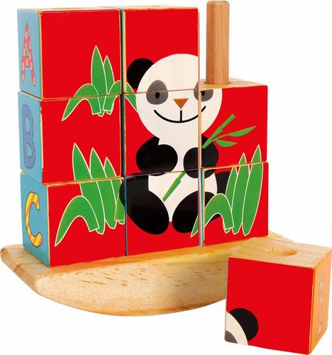 puzzle de madera de cubos panda