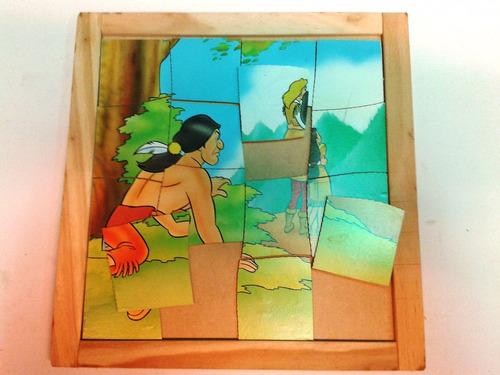 puzzle de madera piezas gruesas p/primera infancia 4 modelos
