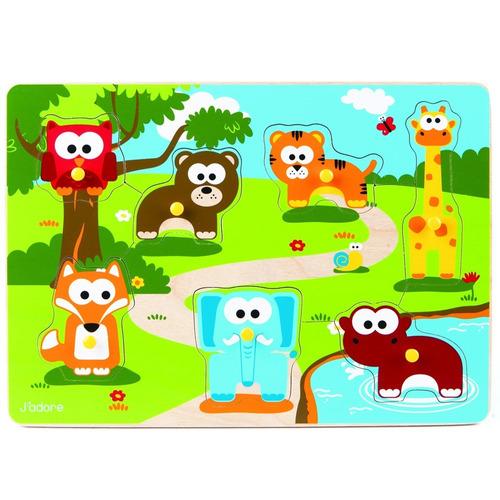 puzzle encastre en madera animales del zoologico didactico