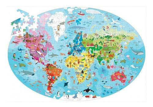 puzzle la tierra mundo ovalado con libro 205 piezas educando