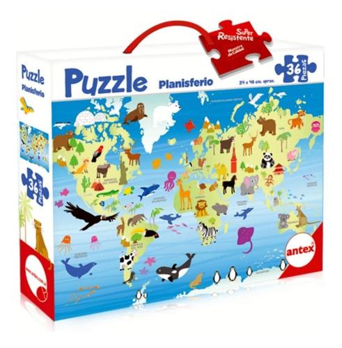 puzzle mapa planisferio 36 piezas 34x48cm antex 1243
