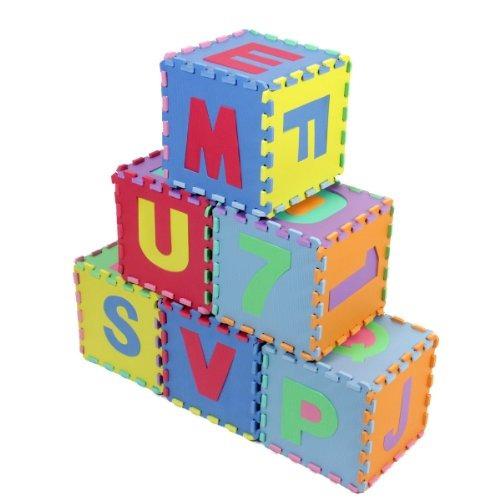 puzzle prosource niños alfabeto, números, 36 azulejos y bor