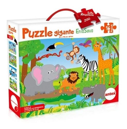 puzzle rompecabezas 16 pz 48x34cm en la selva antex 3032
