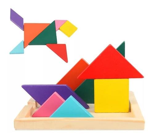 puzzle rompecabezas tangram encaje de madera niños 2 unid