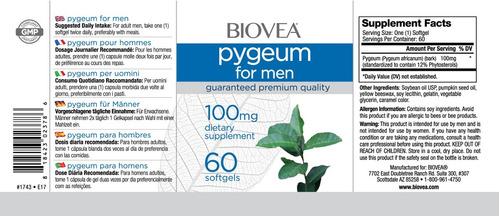 pygeum africano 100mg (saúde da próstata) - 60 softgels