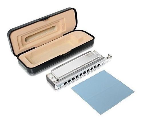 pyle juego de armonica cromatica profesional de acero inoxid