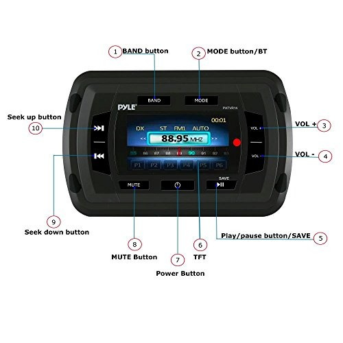 pyle patvr14 marine bluetooth audio video receptor auricular