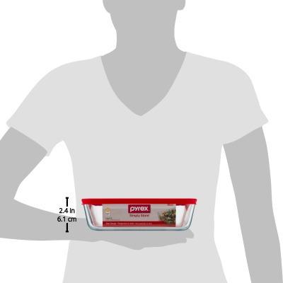 pyrex 6 taza simplemente almacenar plato rectangular