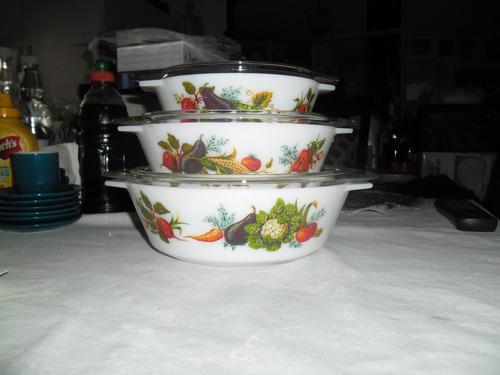 pyrex bowls bouls bols juego de 3 con tapa inglaterra englan