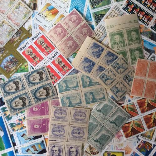 q07 - 250 quadras de selos novos do brasil - diferentes