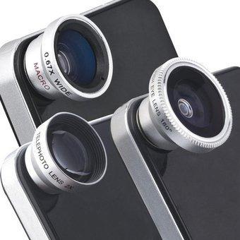 qatary import - kit 3 en 1 lente ojo de pez, gran angular.