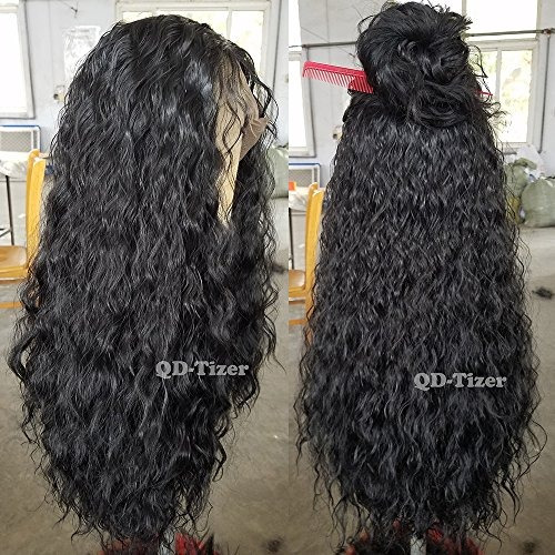 qdtizer 180 density largo suelto rizado pelucas sintéticas f