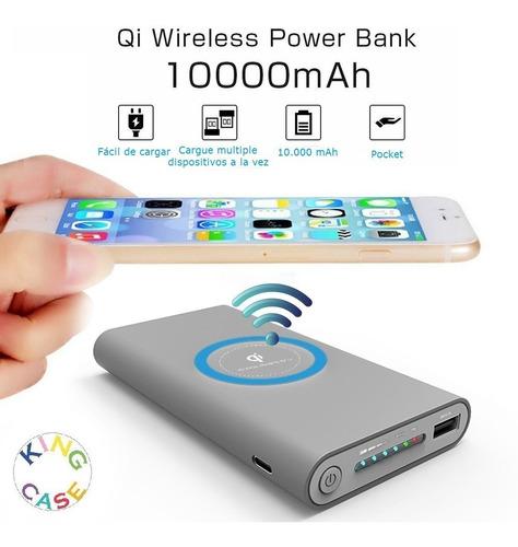 qi cargador inalambrico power bank 10.000mah  usbc micro usb