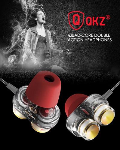 qkz kd7 audifonos doble driver extra bass con espumas t400