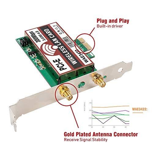 qnine 300mbps pci-e tarjeta de red inalámbrica, dual band 2.