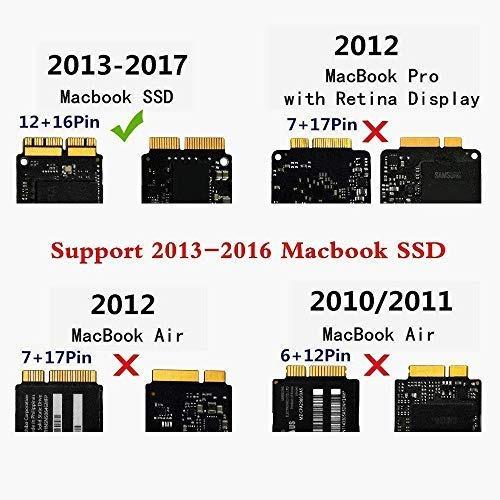 12 + 16 pines QNINE PCIe SSD Adaptador para 2013 2014 2015 2016 2017 Retina MacBook Air Pro USB 3.0 a PCIe SSD Adaptador con estuche para A1398 A1465 A1466 A1502 SSD