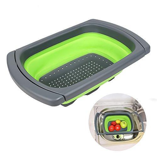 qooltek colador plegable sobre el fregadero cocina colador