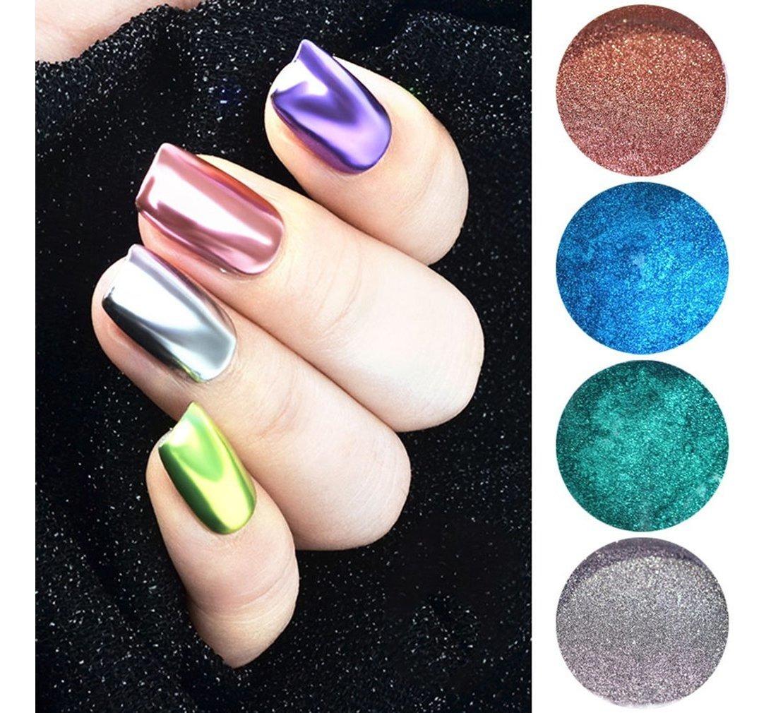 Qt0197 Polvo De Uñas Para Manicura Color Plateado Y Plate