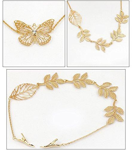 qtmy 2 piezas de hojas de mariposa ramas rhinestone clip de