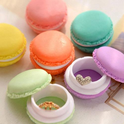 qtmy 6 pcs colorful mini macaron forma caja de almacenamient