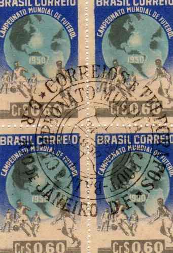quadra de selos com carimbo copa de 1950 (p182)