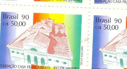 quadra - selo rhm c 1691 fundação casa frança brasil - 1990