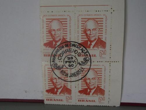 quadra - selo - visita do presidente dos estados unidos 1960