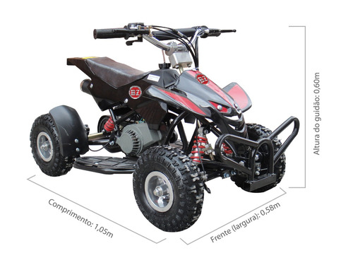 quadriciclo infantil à gasolina motor 2 tempos 49cc
