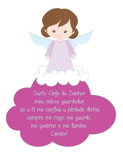 quadrinho oração santo anjo kids quarto infantil decor mdf
