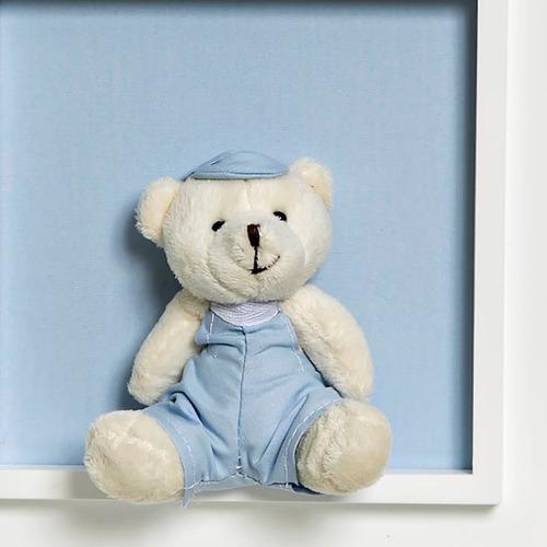 quadrinho/ porta maternidade azul com nome bebê ursinho