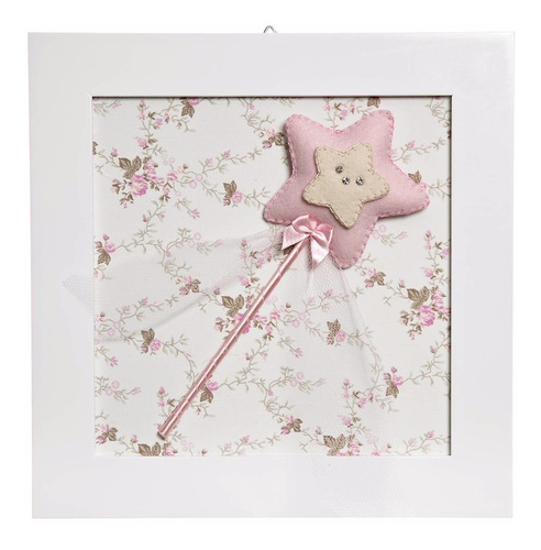 quadrinho quadro menina quarto bebê infantil fada rosa nenê