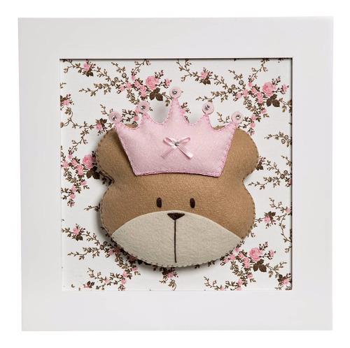 quadrinho quadro quarto bebê infantil ursa princesa corôa