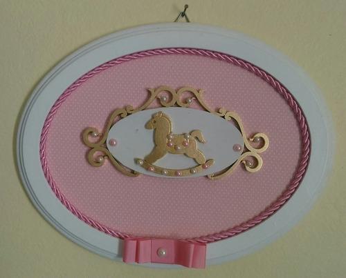 quadrinho/enfeite maternidade - cavalinho rosa c/ poa branco