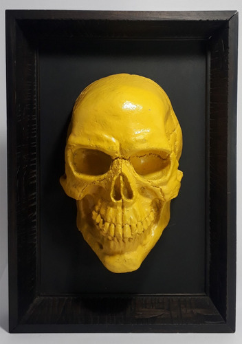 quadro 3d de caveira amarelo