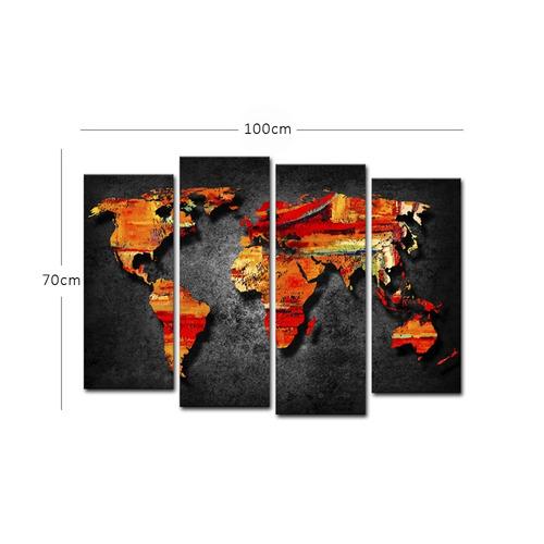 quadro 70x100cm mapa mundi fundo preto decorativo salas