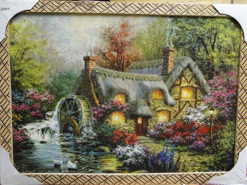 quadro 75x55cm moinho agua rio cabana chamine inverno colina