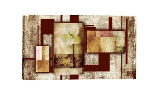quadro abstrato floral  marrom  55x100