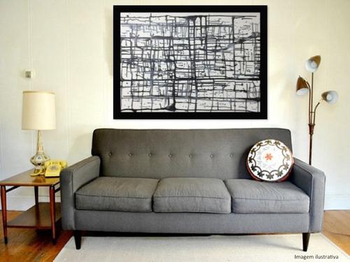 quadro abstrato moderno pintado a mão - titulo: labirinto
