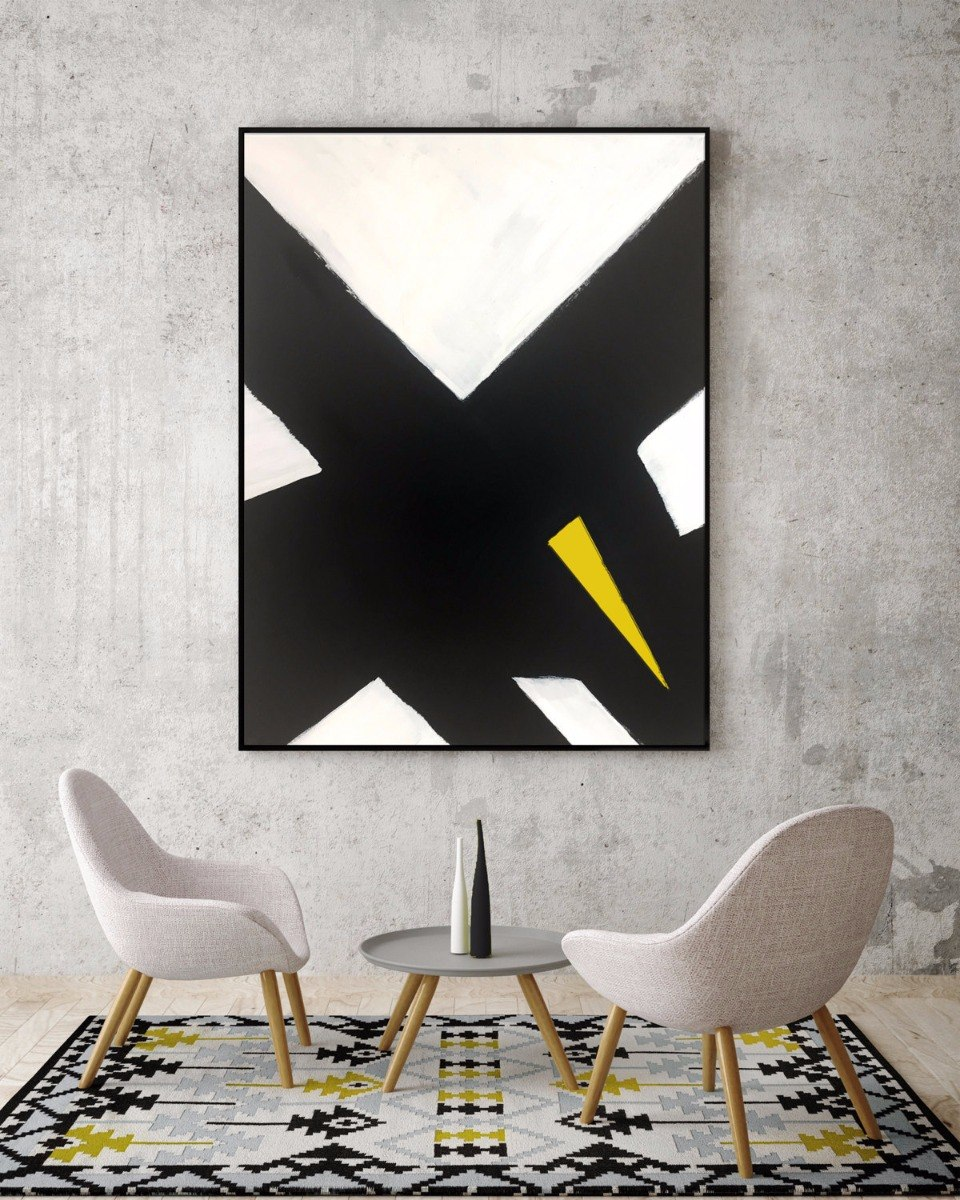 Quadro Abstrato Preto X Branco Amarelo Pintado 193 M 227 O