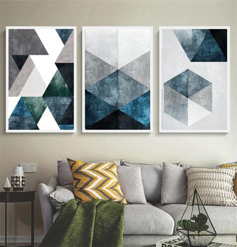 quadro abstrato tons azuis e cinza lindo cimento moldura br