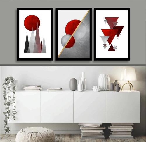 quadro abstrato tons vermelho para sala interiores home hall
